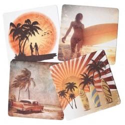 Wobbly Boot Drink Coaster Setz Beach Print (2500)
