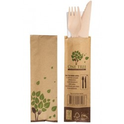 One Tree Cutlery Pack Wooden Knife - Fork - Napkin (400)