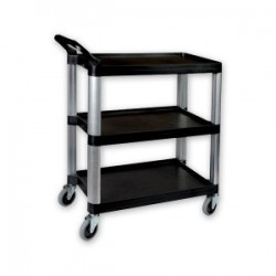 Sunnex Utility Trolley 3 Shelf Plastic Black 800 x 380 x 880mm