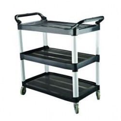Cater Rax Utility Trolley 3 Shelf Plastic Black 845 x 430 x 950mm