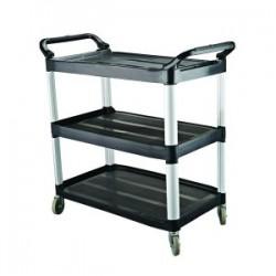 Cater Rax Utility Trolley 3 Shelf Plastic Black 1020 x 500 x 960mm