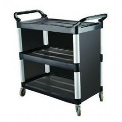 Cater Rax Utility Trolley 3 Shelf Plastic Closed Sides Black 1020 x 500 x 960mm