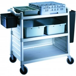 Cambro Large Utility Cart 1015 x 540 x 95mm / 3 Shelf / 180kg w/2 Panel Sets Black