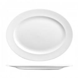 Oval Plate 365 x 293mm Wide Rim Churchill Classic White (6)