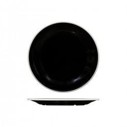 Evoke 270mm Round Plate Wide Rim Black with White Rim Ryner Melamine (12)