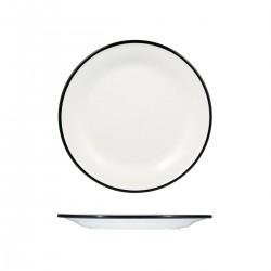 Evoke 270mm Round Plate Wide Rim White with Black Rim Ryner Melamine (12)