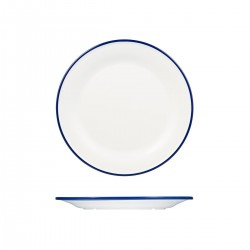 Evoke 270mm Round Plate Wide Rim White with Blue Rim Ryner Melamine (12)