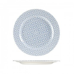 Round Plate 276mm Wide Rim Blue Moresque Prints Churchill (12)